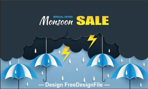 Rainy season special sale flyer vector