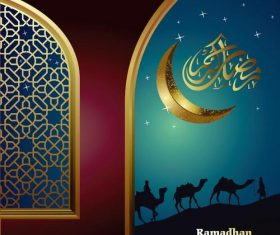 Ramadan Kareem Islamic Greeting Card with Moon Camel Silhouette vector
