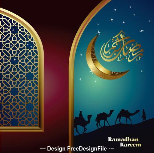 Ramadan Kareem Islamic Greeting Card with Moon Camel Silhouette vector