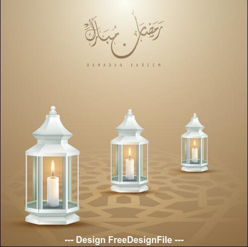 Ramadan Kareem candlelight vector