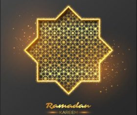 Ramadan Kareem golden geometric illustrations vector