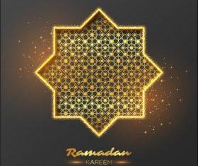 Ramadan Kareem golden geometric illustrations vector