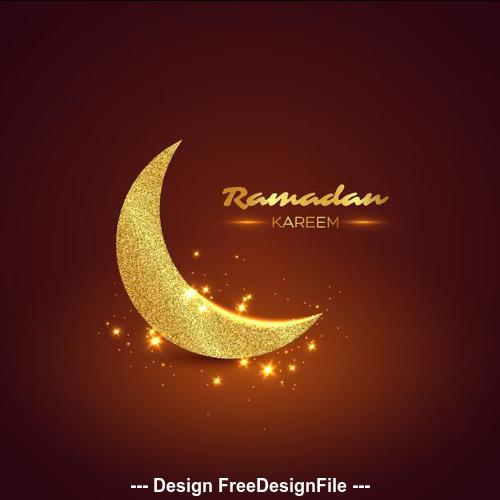 Ramadan Kareem golden moon vector