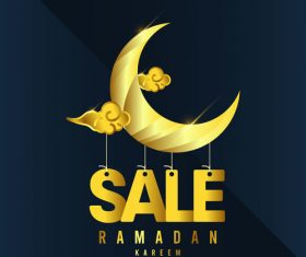Ramadan Karrem golden meniscus sale background vector