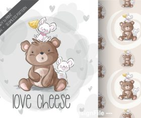 Rat and bear cartoon background vector