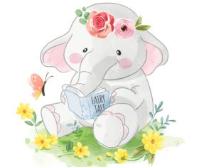 Reading book of elephant cartoon illustration vector