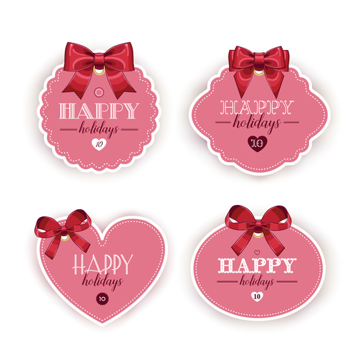 Red bow and tag vector