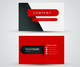 Red pattern business card template design vector