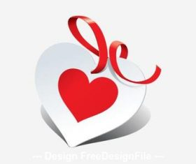 Red ribbon valentine greeting card vector