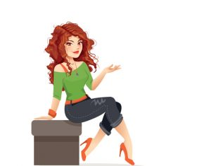 Redhead woman sitting cartoon vector