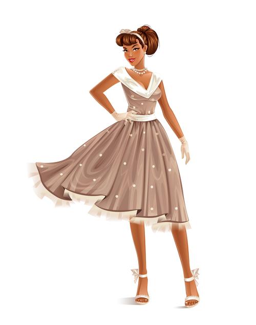 Retro dress woman cartoon vector