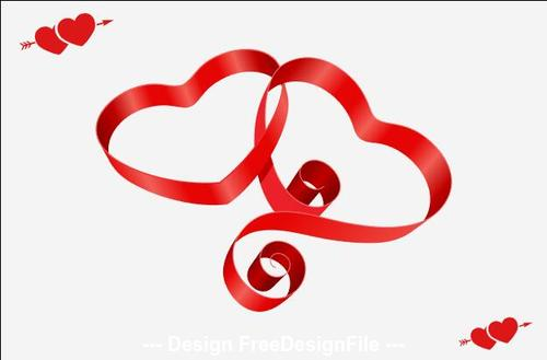Ribbon heart shaped Valentines day greeting card vector