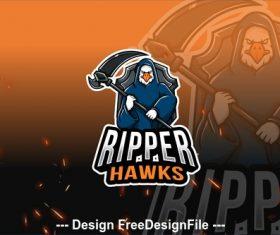 Ripper hawks esport logo vector