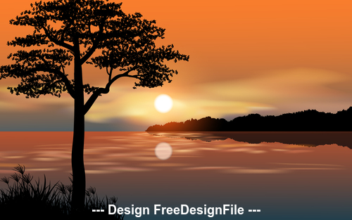 River and sunset cartoon illustration vector