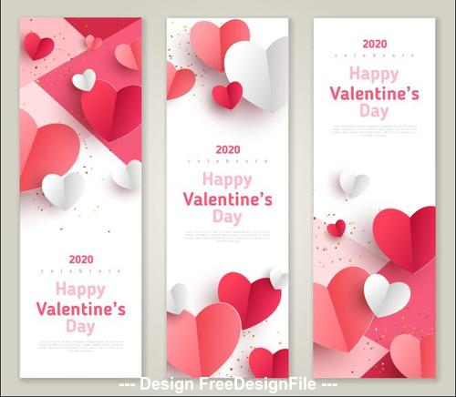 Roll up banner 2020 Valentines day template vector