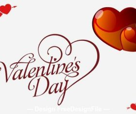 Romantic simple Valentines day greeting card vector