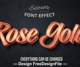 Rose gold 3d font text effect vector