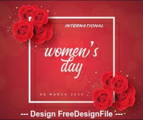 Roses frame womens day greeting card vector