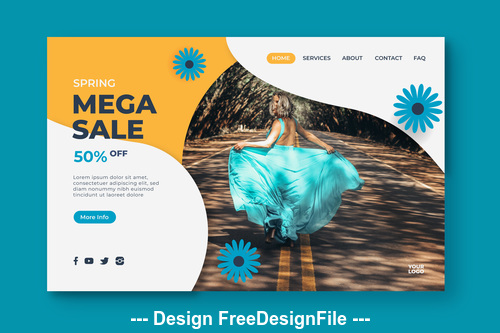 Sale page template vector