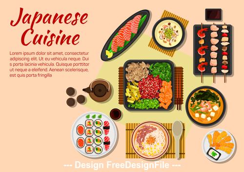 Sashimi sushi cuisine vector