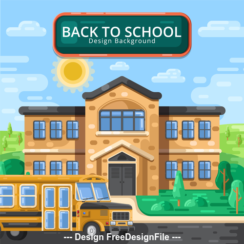 School and school bus background illustration vector