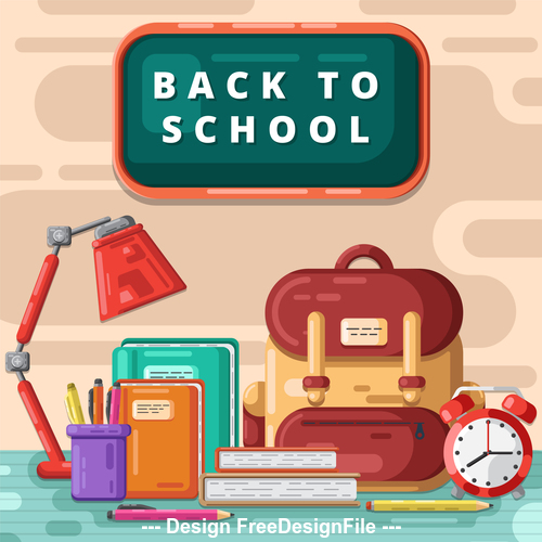 School bag and Back to school background vector