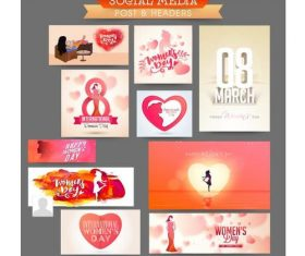 Set of pictures March 8 International womens day vector