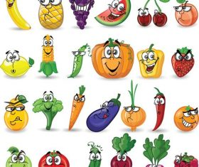 Set of vegetables and fruits cartoon icons vector