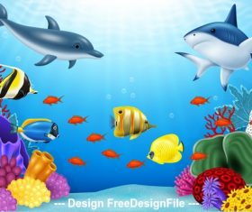 Shark and fish school cartoon illustration vector