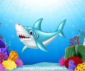 Shark cartoon illustration vector