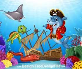 Shark pirate cartoon illustration vector