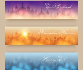 Shiny background Eid mubarak banner vector