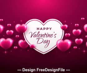 Shiny heart background valentines day greeting card vector