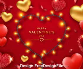 Shiny romantic valentines day card vector