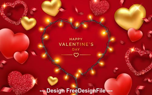 Shiny romantic valentines day card vector