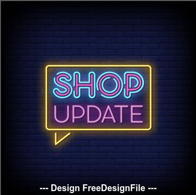 Shop updae neon signs style text vector