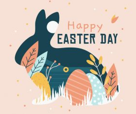 Silhouette easter card vector