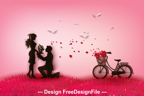 Silhouette romantic valentines day vector