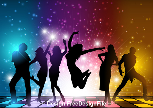 Silhouette young people midnight party vector