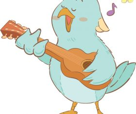 Singing bird cartoon illustration vector