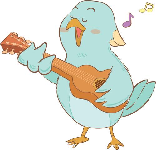 Singing bird cartoon illustration vector