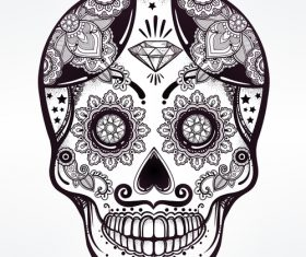 Skull hand drawn icon vector