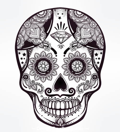 Skull hand drawn icon vector