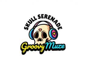 Skull headphone mascot logo vector