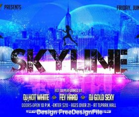 Skyline Party Flyer PSD Template