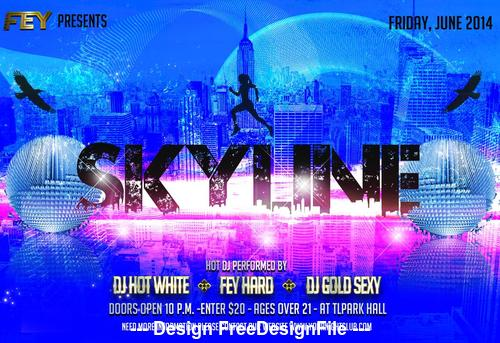 Skyline Party Flyer PSD Template