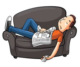 Sleeping on the couch cartoon character vector