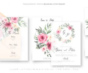 Small fine wedding invitations template vector