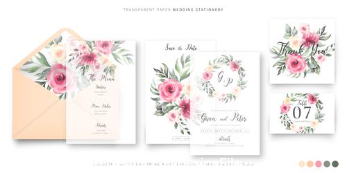 Small fine wedding invitations template vector