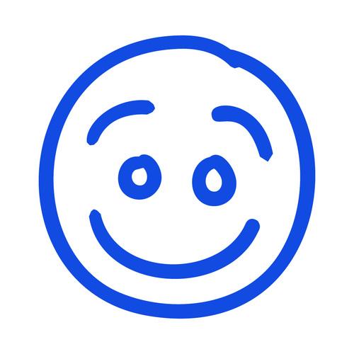 Smile hand drawn emoji vector